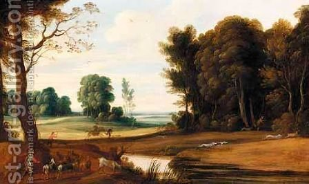 A Wooded Landscape With A Shepherd And His Goats On A Path And Hunters With Their Dogs Chasing A Hare by (after) Marten Ryckaert - Reproduction Oil Painting