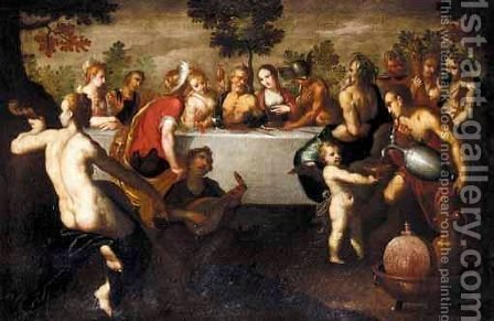 The Feast Of The Gods by (after) Abraham Bloemaert - Reproduction Oil Painting