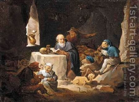 The Temptation Of Saint Anthony by (after)  David The Younger Teniers - Reproduction Oil Painting