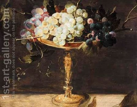 A Still Life With Grapes In A Bronze Cup, On A Stone Ledge by (after) Frans Snyders - Reproduction Oil Painting