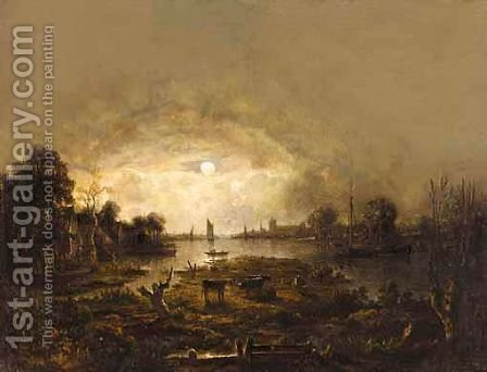 A River Landscape By Moonlight With Cattle In The Foreground And Shipping Beyond by (after) Aert Van Der Neer - Reproduction Oil Painting