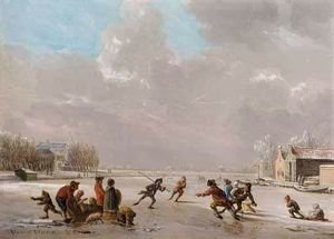 Famous paintings of Ice skating: A Winter Landscape With Skaters On A Frozen River