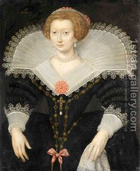 A Portrait Of A Lady, Three-Quarter Length, Wearing A Black Dress And White Lace Collar by (after) Frans, The Elder Pourbus - Reproduction Oil Painting