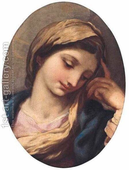 The Head Of The Madonna by (after) Cortona, Pietro da (Berrettini) - Reproduction Oil Painting