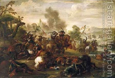 A Cavalry Skirmish 4 by (after) Antonio Calza - Reproduction Oil Painting