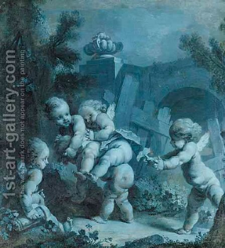 A Landscape With Putti At Play by (after) Francois Boucher - Reproduction Oil Painting
