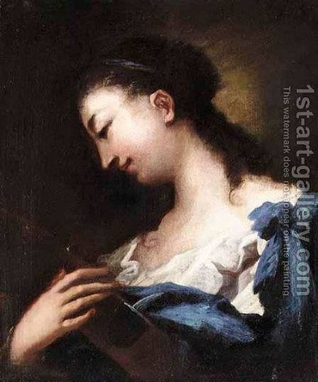 A Portait Of A Woman, Bust Length, Holding A Violin by (after) Giovanni Antonio Guardi - Reproduction Oil Painting