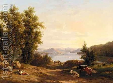 A View Of The Roman Campagna With A Drover And His Cattle by (after) Jakob Philippe Hackert - Reproduction Oil Painting