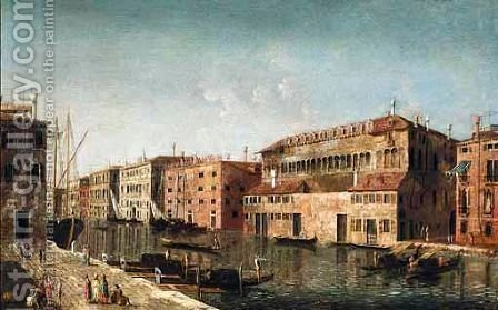 Venice, A View Of The Grand Canal With The Fondaco Dei Turchi by (after) Michele Marieschi - Reproduction Oil Painting