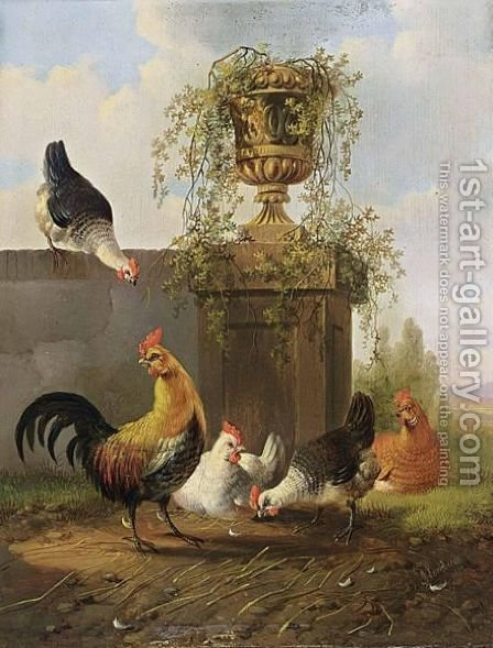Chickens And A Cockerel By A Wall by Albertus Verhoesen - Reproduction Oil Painting