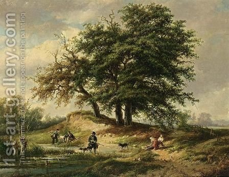Huntsmen In A Wooded Landscape by Adrianus Henrikus De Bruine - Reproduction Oil Painting