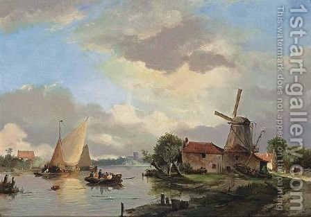 A Summer Landscape With Ships In A Waterway by Adrianus David Hilleveld - Reproduction Oil Painting