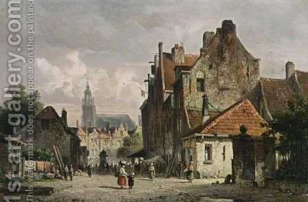 Villagers In A Dutch Town 2 by Adrianus Eversen - Reproduction Oil Painting