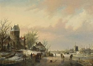 Famous paintings of Ice skating: A Winter Landscape With Skaters Near A  A'Koek En Zopie A'