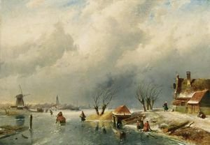 Famous paintings of Ice skating: Skaters On A Frozen Waterway 2