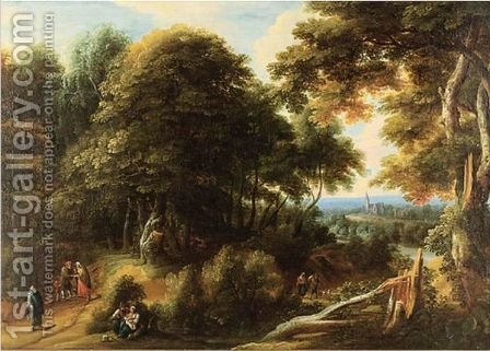 Extensive Landscape With Travelers And A Town In A Distance by (after) Jaques D'Arthois - Reproduction Oil Painting