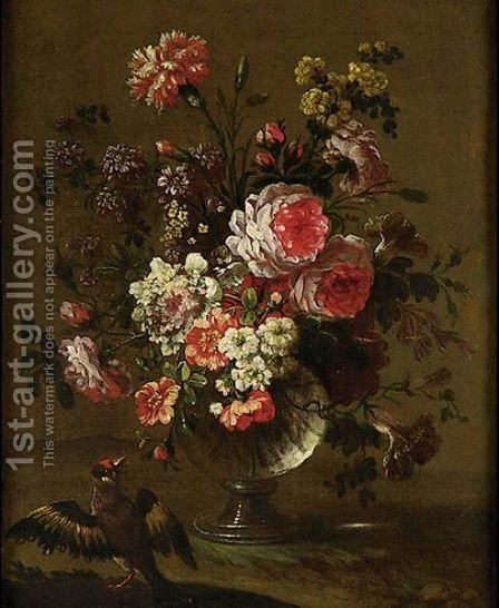 Still Life Of Flowers In Vases With Birds A Pair Of Paintings by (after) Pierre-Nicolas Huillot - Reproduction Oil Painting