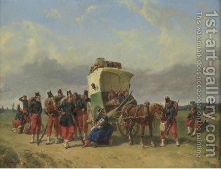 The Pause Of The Family Cart by Adolphe Gandon - Reproduction Oil Painting