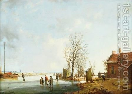 Iceskaters In A Winter Landscape A Pair by A. De Groote - Reproduction Oil Painting