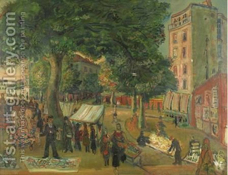 The Market, Place D'Alleray, Paris by Abraham Mintchine - Reproduction Oil Painting