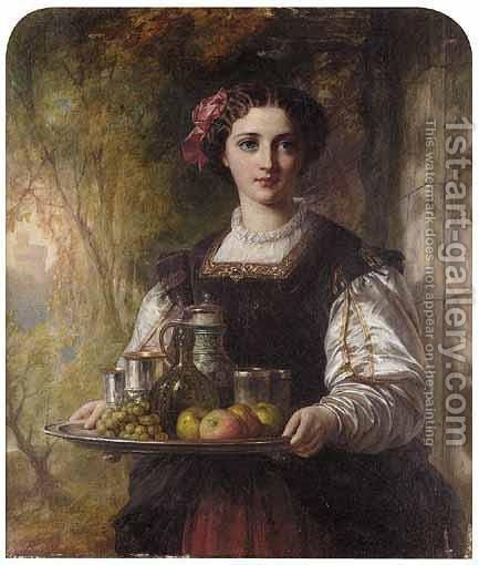A Young Lady Carrying A Tray With Grapes, Apples And Drinks by (after) Charles Baxter - Reproduction Oil Painting