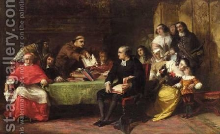 A Religious Debate by Alfred Elmore - Reproduction Oil Painting