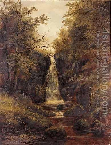 Waterfall, Bolton Woods, Yorkshire by (after) William Mellor - Reproduction Oil Painting