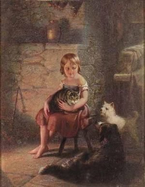 Reproduction oil paintings - Benjamin Franklin Reinhart - Kitty's Pets
