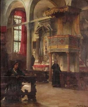 Reproduction oil paintings - Henry Woods - The Interior Of St.Peter Martyr, Murano Venice