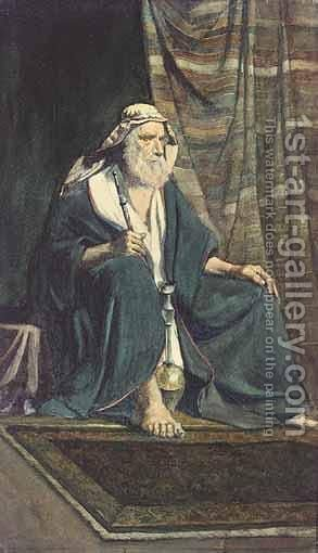 A Seated Arab Man by (after) Rudolf Ernst - Reproduction Oil Painting