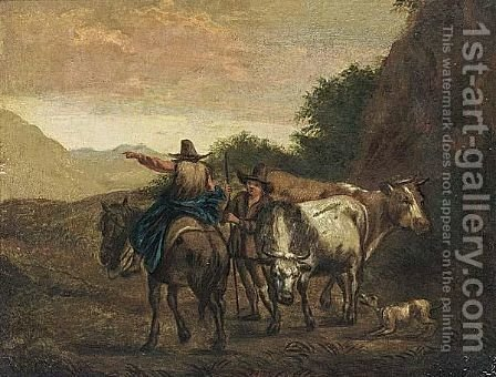 Travellers On A Path by (after) Nicolaes Berchem - Reproduction Oil Painting