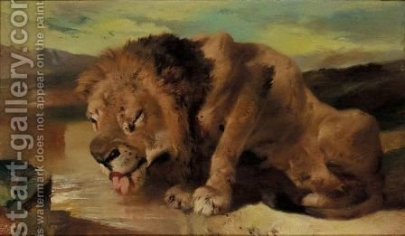 A Lion Drinking by (after) Landseer, Sir Edwin - Reproduction Oil Painting