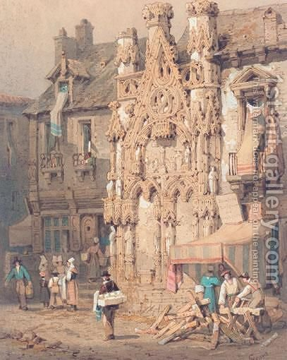 Street In Anvers by (after) Samuel Prout - Reproduction Oil Painting