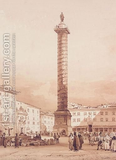Piazza Colonna, Roma by Achille Vianelli - Reproduction Oil Painting