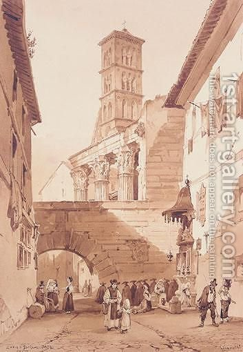 L'Arco Di Pantano, Roma by Achille Vianelli - Reproduction Oil Painting