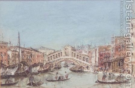 The Rialto Bridge by (after) Giacomo Guardi - Reproduction Oil Painting