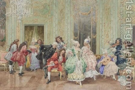 The Recital by Albert Pierre Roberti - Reproduction Oil Painting