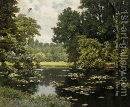 Etang En Ile De France by Henri Biva - Reproduction Oil Painting