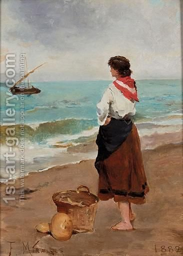 Fisherwomen by (after) Francisco Miralles Galup - Reproduction Oil Painting