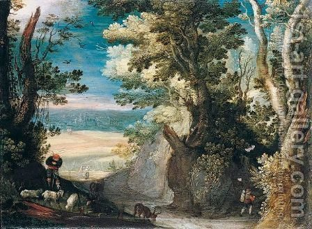 A Wooded Landscape With A Herdsman Tending Goats In The Foreground, A View Of A Town In The Distance by (after) Paul Bril - Reproduction Oil Painting