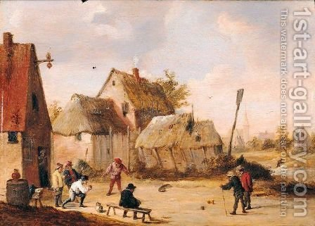 A Village Scene With Peasants Playing Skittles by Abraham Teniers - Reproduction Oil Painting