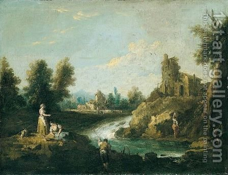 A River Landscape With A Fisherman And Women In The Foreground, A Woman Carrying Water Towards A House Beyond by Giuseppe Zais - Reproduction Oil Painting