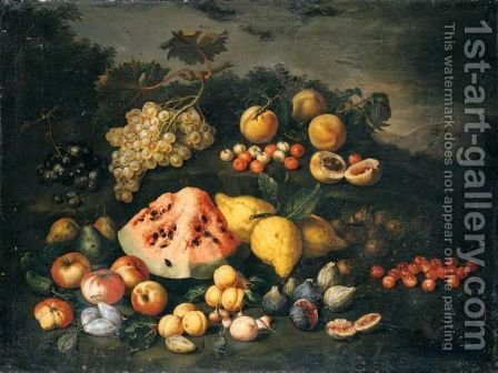 Still Life Of Watermelon, Lemons, Peaches, Apples, Plums, Cherries And Figs In An Open Landscape by (after) Bartolommeo Bimbi - Reproduction Oil Painting