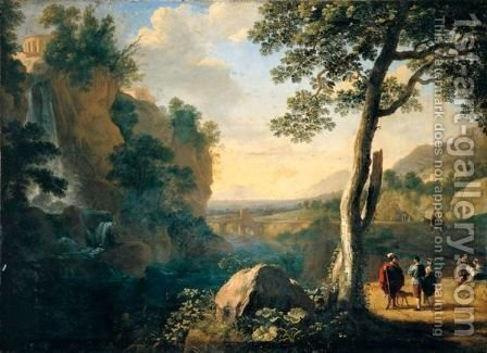A Southern Landscape With A Fisherman And Figures Conversing On A Road Beside A Waterfall, A Hill Town Above And A Bridge Beyond by Herman Van Swanevelt - Reproduction Oil Painting
