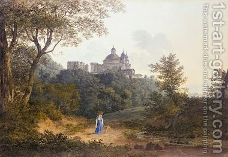 View Through Trees To The Church Of Sta Maria Dell'Assunzione And The Palazzo Chigi At Ariccia by (after) Hendrikus Johannes Knip - Reproduction Oil Painting