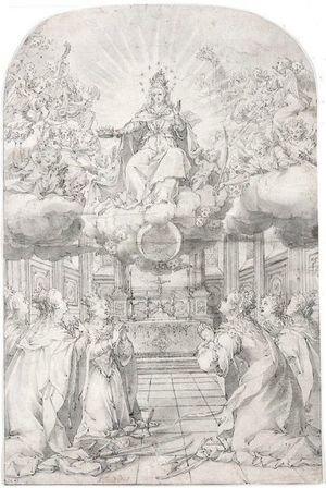 Hans Werl reproductions - Sts. Catherine, Barbara, Ursula And Three Other Female Saints Adoring The Virgin In Glory