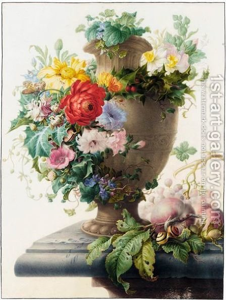An Urn Garlanded With Flowers, And Peaches, Grapes, Hazelnuts And Various Insects And Snails On A Stone Ledge by Herman Henstenburgh - Reproduction Oil Painting