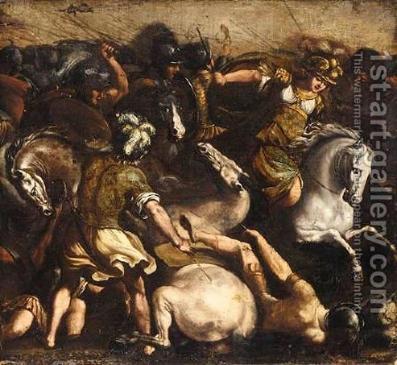 A Battle With Amazons by (after) Antonio Tempesta - Reproduction Oil Painting