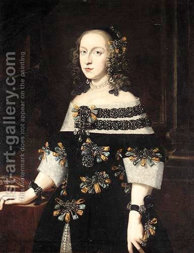 Portrait Of A Lady, Three Quarter Length, Wearing A Black Dress With Blue And Gold Bows by (after) Pier Francesco Cittadini - Reproduction Oil Painting