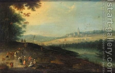 A River Landscape With Waggoners Beside A Road, A Church Beyond by (after) Jan The Elder Brueghel - Reproduction Oil Painting